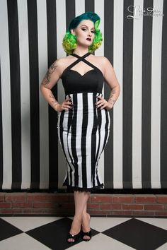 Vintage Goth Pinup Capsule Collection- High Waisted Skirt in Stripes with Fishtail Hem