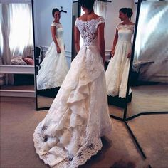 Vintage 2016 Full Lace Wedding Dresses Cap Sleeves Illusion Bodice Ruffles Sweep Train Custom Made Bridal Wedding Gowns For Garden Outdoor Best Lace Wedding Dresses Bride Wedding Dresses From Whiteone, $147.82| Dhgate.Com