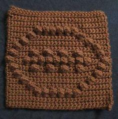 10 Free Crochet Football Patterns: Football Bobble Square Free Crochet Chart