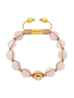 Women's 14K Gold Collection With Gold Logo Bead And Rose Quartz   Nialaya Jewelry