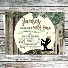 Personalised Wild One Invite, Where the Wild things Are Invitation, Let the Wild Rumpus Start, First Birthday Forest party, Tree, Moon, Gold