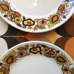 Items similar to Vintage J G Meakin / Bali Studio Pottery Range / Sugar Bowl & 2 Plates / flowers, warm colours / Retro England, Alan Rogers designer on Etsy Sugar Bowl, Bali, Pottery, Range, Plates, Studio, Trending Outfits, Unique Jewelry, Tableware