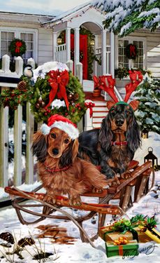 Longhaired Dachshund Welcoming Committee - by Margaret Sweeney