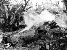 """""""Two U.S. Marines direct flame throwers at Japanese defenses that block the way to Iwo Jima's Mount Suribachi on March 4, 1945. On the left is Pvt. Richard Klatt, of North Fond Dulac, Wisconsin, and on the right is PFC Wilfred Voegeli."""" (USMC)"""