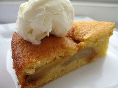 Carmelised Pear and Almond Cake - uses rising flour, but the carmelised pears is such a good idea