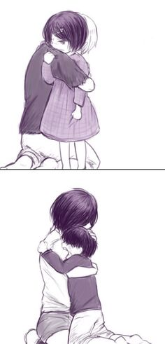 Kaneki comforting little Touka & Touka comforting little Kaneki...poor babies T_T