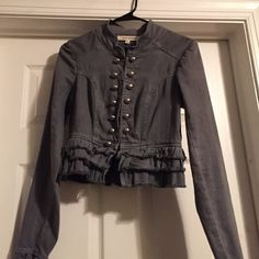 MOVING. EVERYTHING MUST GO! Grey, cropped jacket Steve Madden cotton silver hardware Steve Madden Jackets & Coats