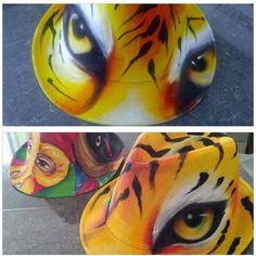 Painted Hats, Hand Painted, Hat Making, Fabric Painting, Big Cats, Decoupage, Mosaic, Projects To Try, Ink