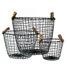 Down to the Woods Leather Wire Basket
