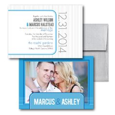 Blue Wedding Invitations, Photo Wedding Invitations