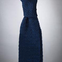 """""""Cri de la Soie"""" Marine Blue Knit Tie, handmade in Germany"""