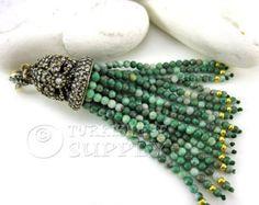 Multicolored Green Agate Beaded Gemstone Tassel, Antique Bronze Ornate Tassel Cap with Clear Rhinestones, Turkish Jewelry Tassel Pendant