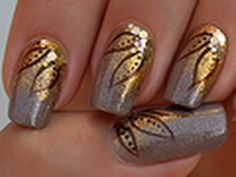 Autumn nail art on short nails tutorial
