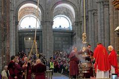 The Pilgrim's Mass in the Cathedral de Santiago de Compostela.  www.thecatholicmuse.com