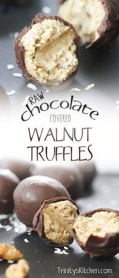 Raw chocolate covered walnut truffles by trinity #vegan #dairyfree