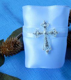 1st COMMUNION, CHRISTENING, BAPTISM 6 White Religious Napkin Rings w Silver Rhinestone Cross, Wide White Satin Narrow White Sheer w metallic by ModernClassicbyCarol on Etsy
