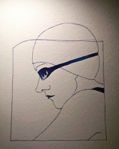 Work in progress for a head underwater. I wonder what it communicates to who watches.  #underwater #coif #wip #illistration #ink #blue