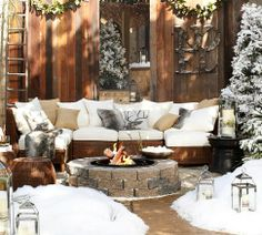 Antler Outdoor Pillow | Pottery Barn  (pretty much in love with this whole scene)