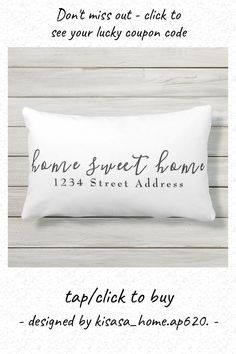 Home Sweet Home & Address   Script   White Lumbar Pillow - tap, personalize, buy right now! #LumbarPillow #white, #home, #address, #home #sweet Lumbar Pillow, Bed Pillows, Modern Decorative Pillows, Spot Cleaner, Home Reno, White Houses, Patio Chairs, Pillow Design, Typography Design