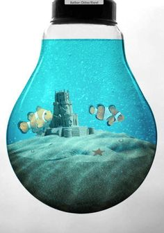 Learn how to combine stock photos to create a saltwater aquarium inside a light bulb. This Photoshop tutorial will show you how to combine and warp images and apply easy color correction. Final Result