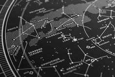 Silkscreen Print: Map I – The Northern Sky (Silver-White / Black) — stellavie design manufaktur $80