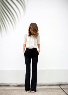45 Catchy Spring Work Outfits Ideas For 2016 - Page 3 of 3 - Latest Fashion Trends I have good black pants, I like this classy white blouse with rolled up sleeves