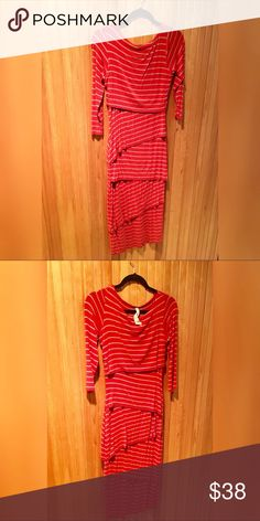 "Anthropologie bailey 44 red striped column dress-M Anthropologie bailey 44 stripe red column dress with tan stripes. This dress is very flattering and includes 3/4"" long sleeves, boat neck, hits just at the knee and is tiered soft jersey.  Size medium. Gently used.  Looking to sell, not trade. Bailey 44 Dresses Long Sleeve"