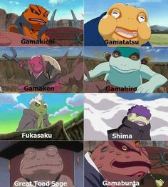 I LOVE JIRAIYA'S FROGS!! Especially Gamatatsu, so lazy and slowpokey.