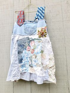 sweet but funky little Wearable Art Tunic for work or play - made from upcycled denim, cotton and jersey knit. you will love the fit of these - a wonderful summer dress for baseball games, festivals or you can dress it up with your wedges for a night out!  ** be sure to checkout all the