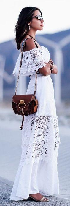 #street #fashion |White Festival Lace Maxi Dress | Vivaluxury