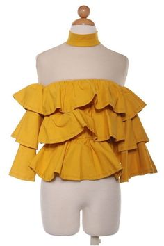 Boutique Top S M L Yellow Mustard Sheer Shoulder Tiered Ruffle Cocktail Blouse #Boutique #Blouse #Casual