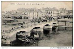 Nantes, pont de Bellecroix et  quai du Chapeau Rouge