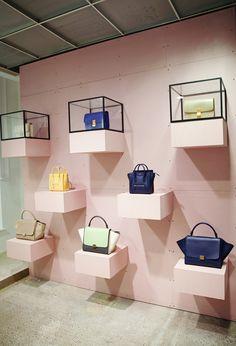 pink cline wall. More Celine Display, Handbags Display, Display Céline, Inspiration Ideas, Handbags Retail, Celine Stores, Stores Celine, Display Ideas, Retail Display Wall Celine Display, staggered sparse shelves celine store - Google Search