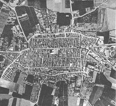 An aerial photo (1958) of the city of Santa Fe de Granada, Spain
