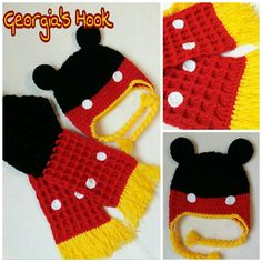 Mickey Mouse hat and scarf Mickey Mouse Hat, Georgia, Crochet Hats, Tejidos, Knitting Hats