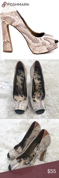 SAM EDELMAN Tacoma Heels Sam Edelman's Tacoma style features a black and white snake printed upper. Chunky heel. Like new except some wear on the bottom. Sam Edelman Shoes Heels