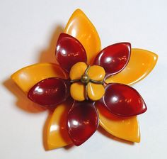 Bakelite Flower Brooch / Pin, Butterscotch & Cherry Amber, Tiered, from cheekymonkeyvintagejewelry on Ruby Lane