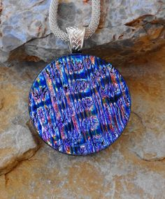 Round Fused Glass Pendant Dichroic Fused Glass Pendant by GlassCat
