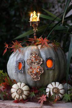 The pumpkin coach - paint pumpkin gray, add miniature frames to accent windows, decorative hardware for door; decorative button hubcaps~ too cute~❥