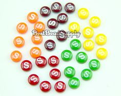 70 pcs 8mm Resin S Colorful Fruit Candy Cabochon Beads Kawaii Deco Den Scrapbook on Etsy, $4.99