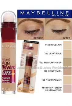 Active Formula and Micro-Corrector Applicator erase dark circles, puffiness and fine lines instantly. Maybelline Age Rewind Concealer, Maybelline Instant Age Rewind, Concealer For Dark Circles, Age Rewind Concealer Shades, Under Eye Concealer, Makeup Guide, Makeup Kit, Makeup Tricks, Beauty Makeup