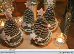 Page full of ideas for crafting with pine cones - pictures only - no directions