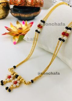 Beaded Jewelry Designs, Gold Jewellery Design, Necklace Designs, Pm Ms, Nose Ring Jewelry, Gold Mangalsutra Designs, Gold Jewelry Simple, Bridal Jewelry, Pearl Flower