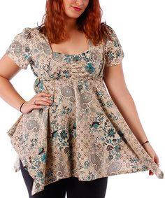 Loving this Yummy Teal Floral Empire-Waist Top - Plus on #zulily! #zulilyfinds