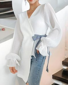 Product Fashion V Neck Loose Long Sleeve Chiffon Shirt Brand Name Corebeau SKU Gender Women Style Fashion/Elegant/Modern Type Shirt Material Cotton Decoration Printed Colour Please Note: All dimensions are measured manually with a deviation of 1 to Chiffon Shirt, Chiffon Dress, White Shirts, Mode Inspiration, Mode Style, Pattern Fashion, Blouse Designs, Fashion Dresses, Fashion Shirts