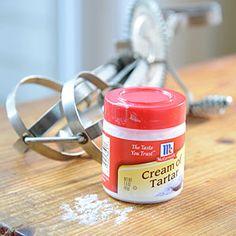Cream of Tartar Substitute: 1/8t of cream of tartar substitute 1/2 t vinegar or lemon juice