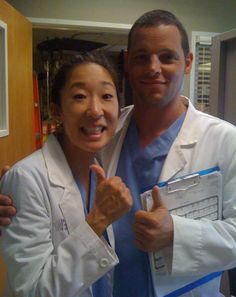 Grey's Anatomy Season 8 BTS picture of the 150th episode (Sandra Oh & Justin Chambers)