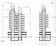 The Nagakin Capsule Tower by architect Kisho Kurokawa was built in Tokyo, Japan in It is 52 m high, Walter Gropius, Rem Koolhaas, Edificio Woolworth, Nakagin Capsule Tower, Kisho Kurokawa, Drafting Drawing, Section Drawing, Capsule Hotel, Elevation Plan