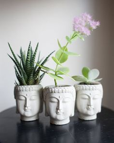Buddha succulent planters for either the living room or kitchen window. Buddha Kopf, Head Planters, Concrete Planters, Ceramic Planters, Decoration Plante, Buda Decoration, Buddha Head, Buddha Face, Cactus Y Suculentas