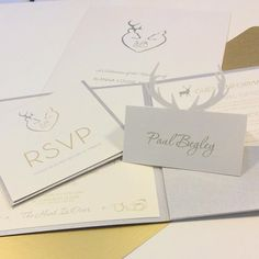 """The hunt is over for Alanna & Scott who said """"I do"""" at Cameron house! We loved bringing their stag & doe theme to life! #stag #doe #cameronhouse #gold #silver #wedding #invites #stationery #savethedate #pocketfold #unique #modern"""